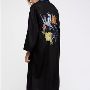 Free People black BirdFlower Embroider Duster XS/S